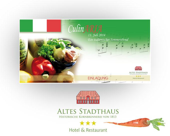 Einladungs- und Menükarten zum Italienischen Abend im Hotel Altes Stadthaus.