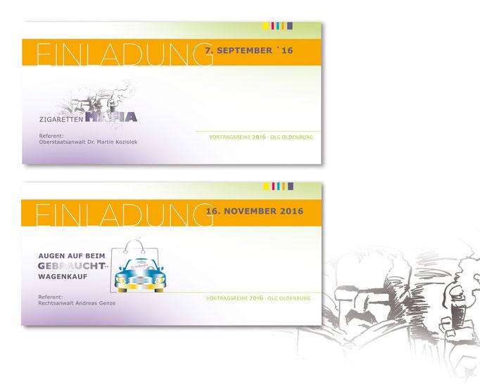 Corporate Design der Einladungen zur Veranstaltungsreihe im Oberlandesgericht Oldenburg. Illustrationen MWD Design. Werbung.