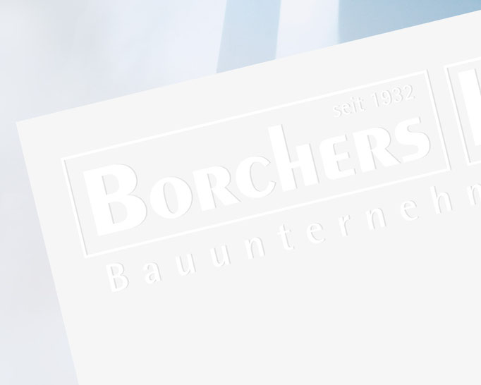 Borchers Design Fining, Prägung Briefbogen der Geschäftsführung.