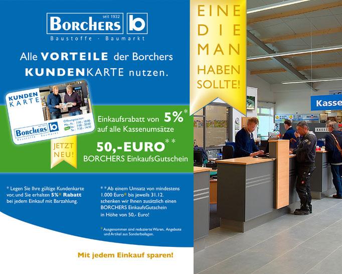 Indoor Werbung und Anzeigen Konzept zur Borchers Kundenkarte.