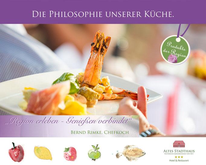 Hotel Altes Stadthaus, Regionale Küche,  Printwerbung