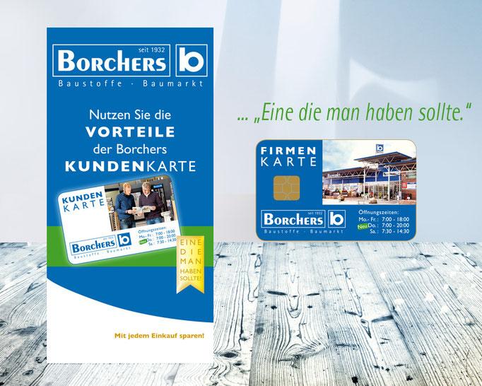 Flyer mit Informationen zur Borchers Kundenkarte für Endverbraucher.