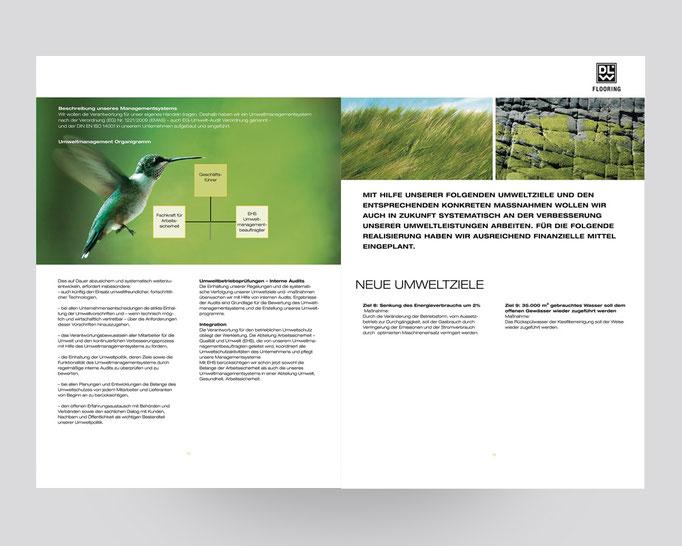 DLW Flooring Umweltbroschüre. Rohstoffe und Umweltziele.