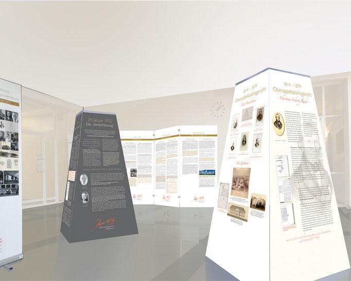 Ausstellung im OLG Oldenburg mit 20 Ausstellungsflächen. Teilweise auf 3-dimensionalen Kuben.