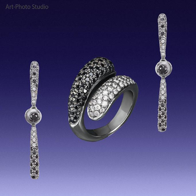 """кольцо и серьги """"пусеты"""" из белого золота с бриллиантами"""