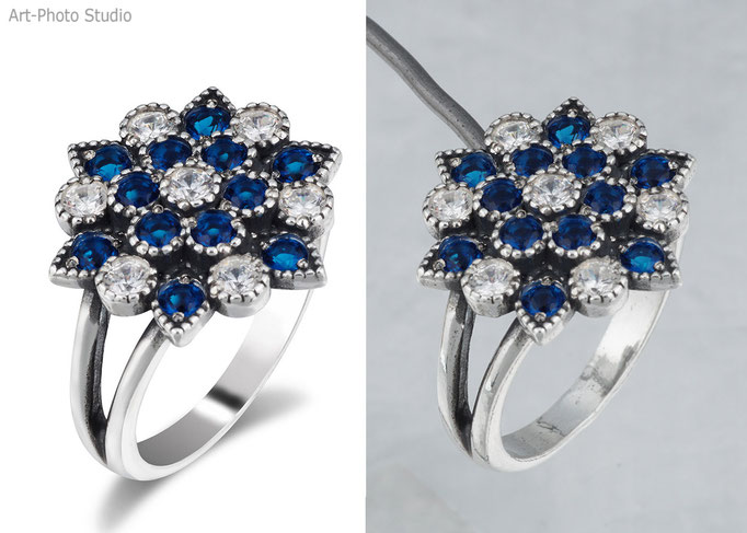 съемка и ретушь ювелирного украшения - серебряное кольцо