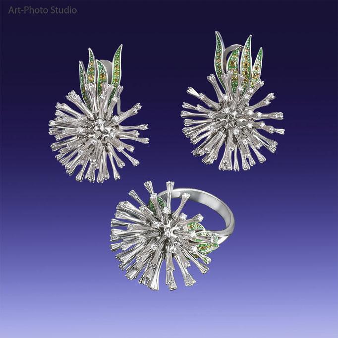 предметная фотография ювелирного украшения из золота - набор из кольца и серьг с бриллиантами