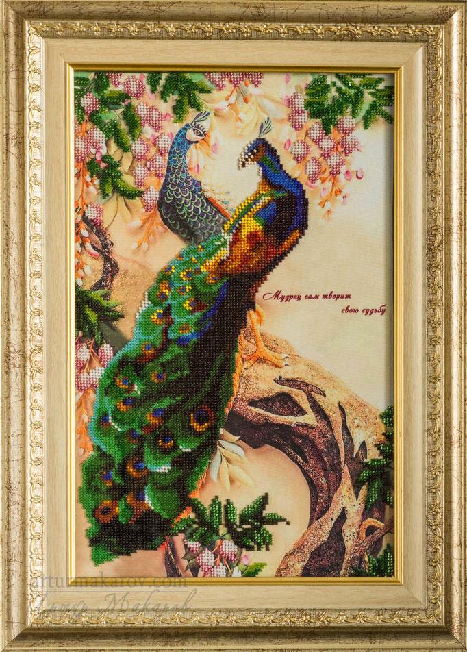 картина, вышитая бисером - павлин