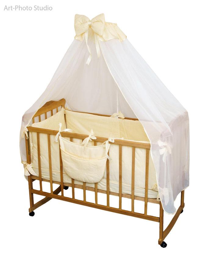 предметная фотосъемка постельного белья для детской кроватки