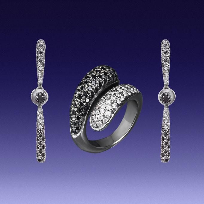 набор ювелирных украшений из черного(затемненного) золота - кольцо и серьги с брилиантами