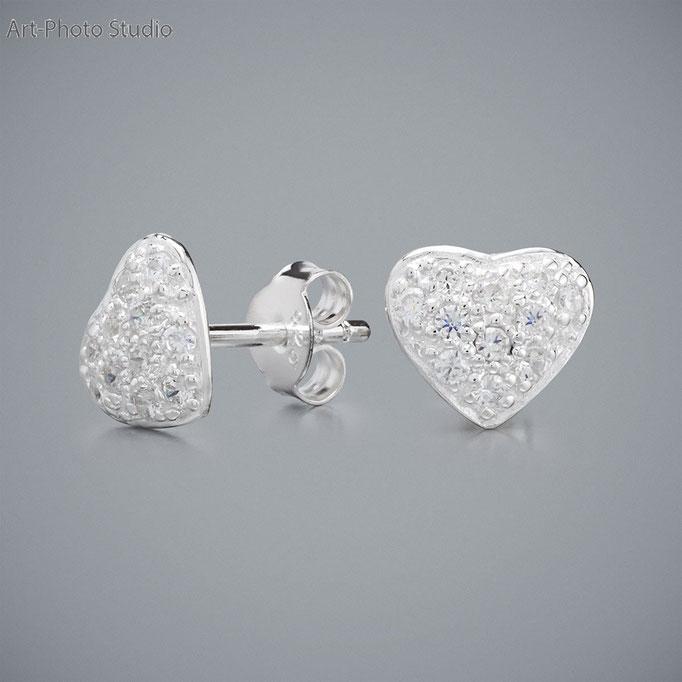 ювелирные украшения из серебра - серьги в виде сердечка