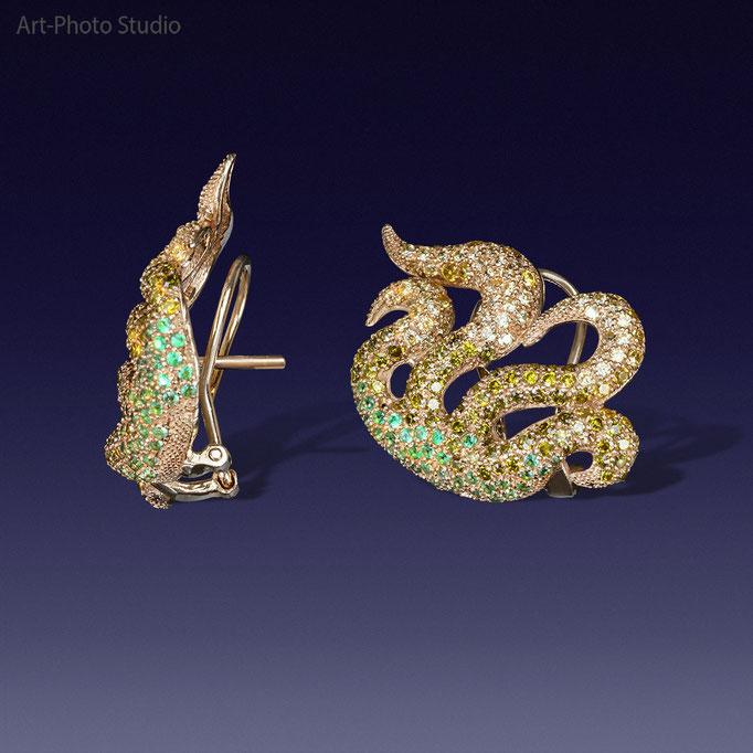 серьги из золота - предметная съемка ювелирных изделий в Харькове
