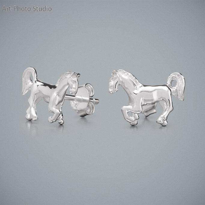 ювелирные украшения из серебра - серьги в виде лошади