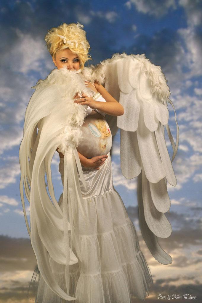 фотосессии для беременных в ангельской одежде - 2