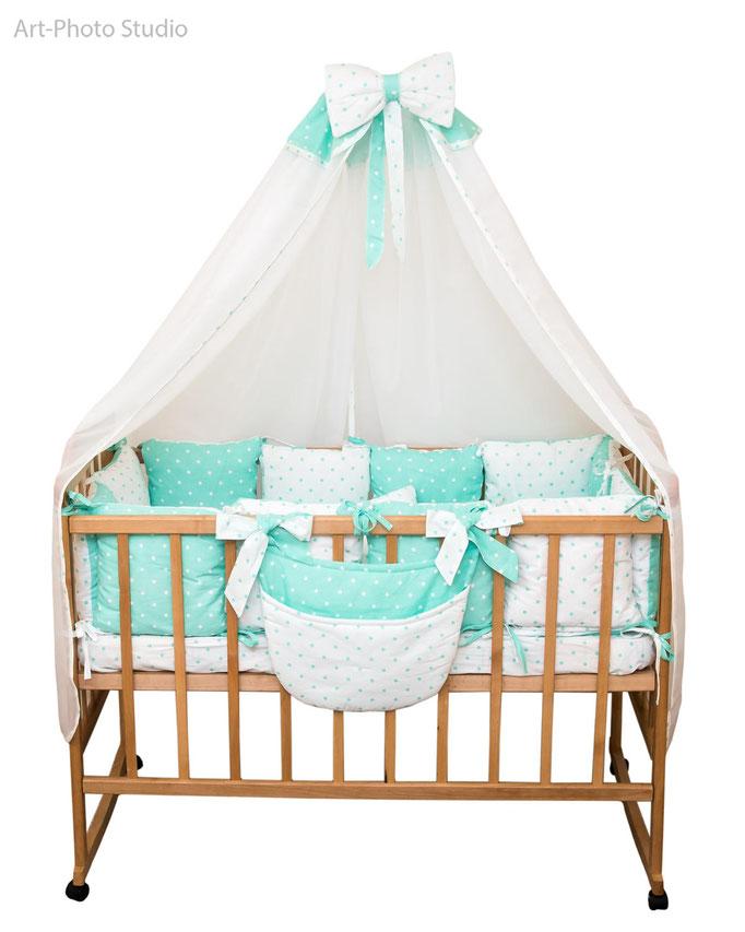 каталожная съемка детского постельного белья на кровати
