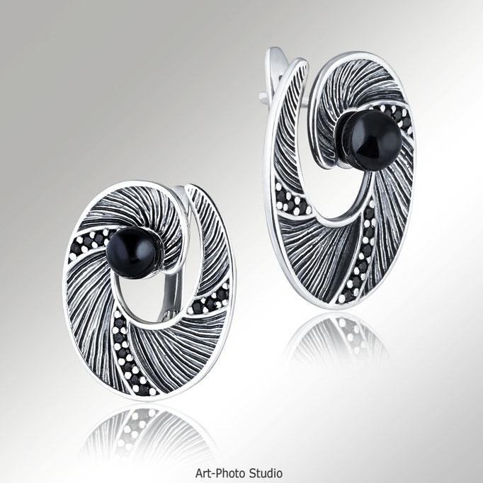 серебряные серьги -съемка ювелирных украшений в Харькове