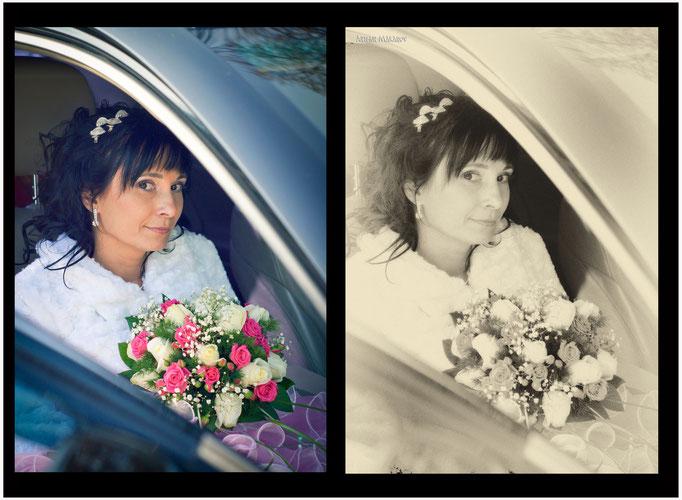 вариант предметной ретуши - невеста в автомобиле