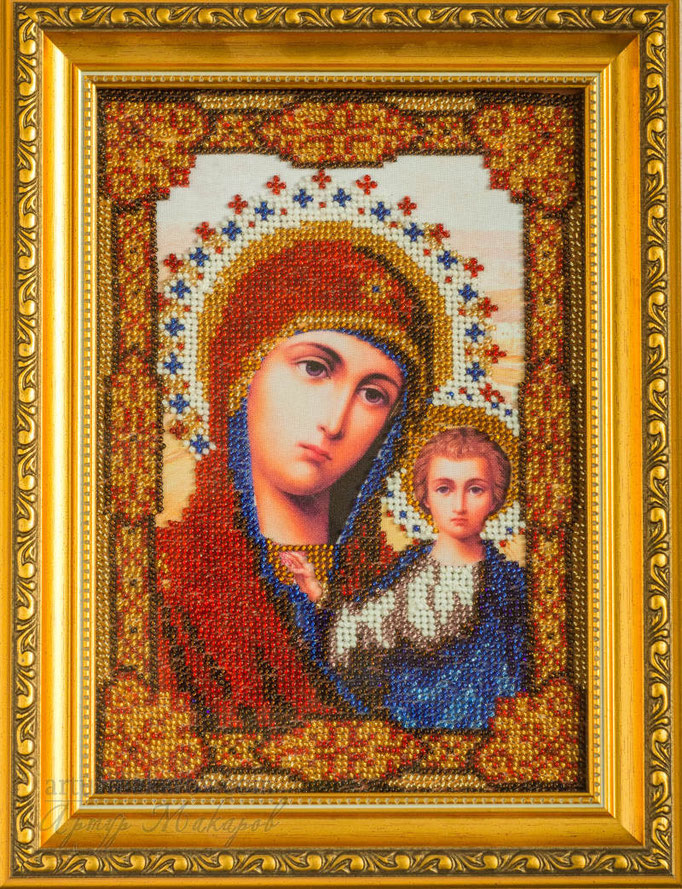 картина, вышитая бисером - христианская икона