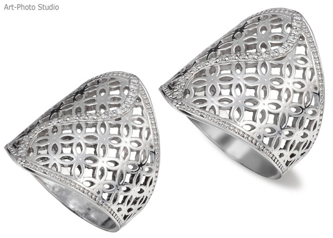 серебряное кольцо - до и после обработки, ретуши