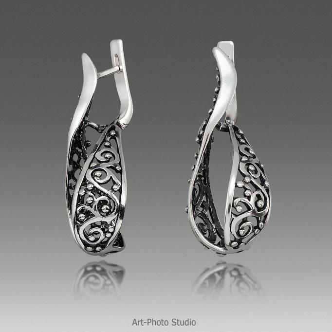 серебряные серьги -съемка ювелирных изделий в Харькове