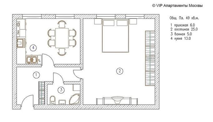 План квартиры с расстановкой мебели. Медвежий переулок дом 3. Продажа квартиры от VipApartments.info