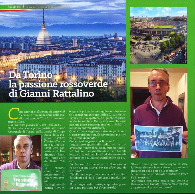 """2017-12-08. DAJE MO'! Il mio articolo della rubrica """"FERE DE FòRI"""",dedicato ai tifosi rossoverdi non ternani: Gianni Rattalino"""
