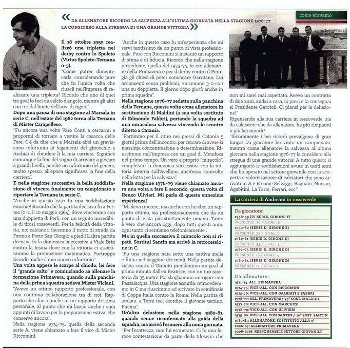 2016-10-08. DAJE MO'! (Parte 2). Il mio articolo dedicato a Omero Andreani. La versione integrale dell'intervista si può leggere al seguente link:  http://www.ternananews.it/focus/omero-andreani-ternano-doc-28538