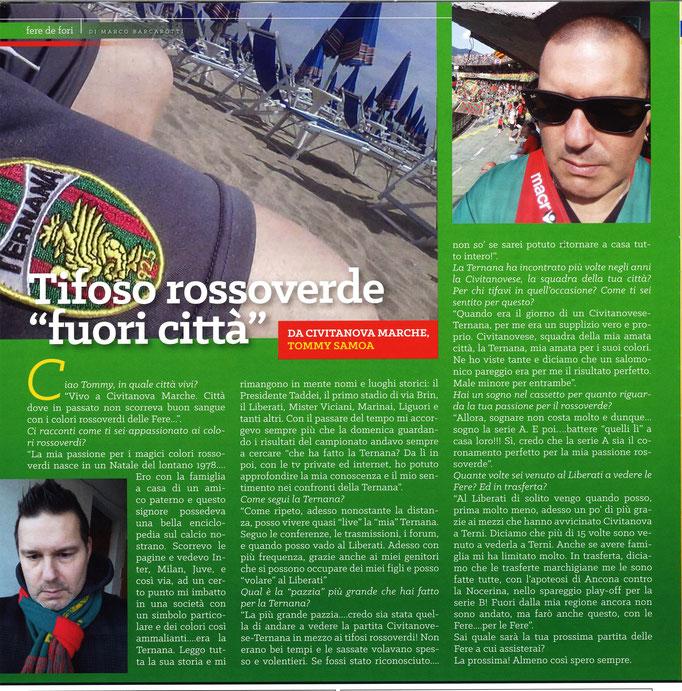 """2017-10-21. DAJE MO'! Il mio articolo della rubrica """"FERE DE FòRI"""",dedicato ai tifosi rossoverdi non ternani: Tommy Samoa"""