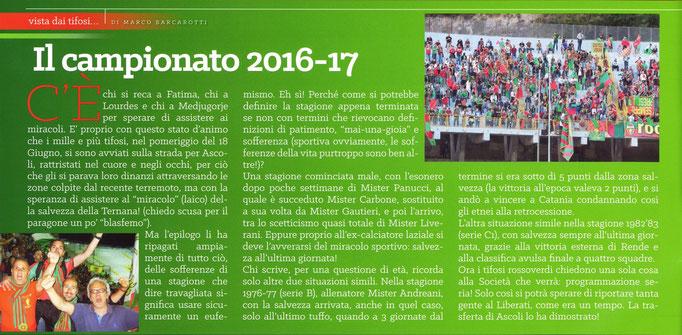2017-06-01. DAJE MO'! Il mio articolo di fine stagione.