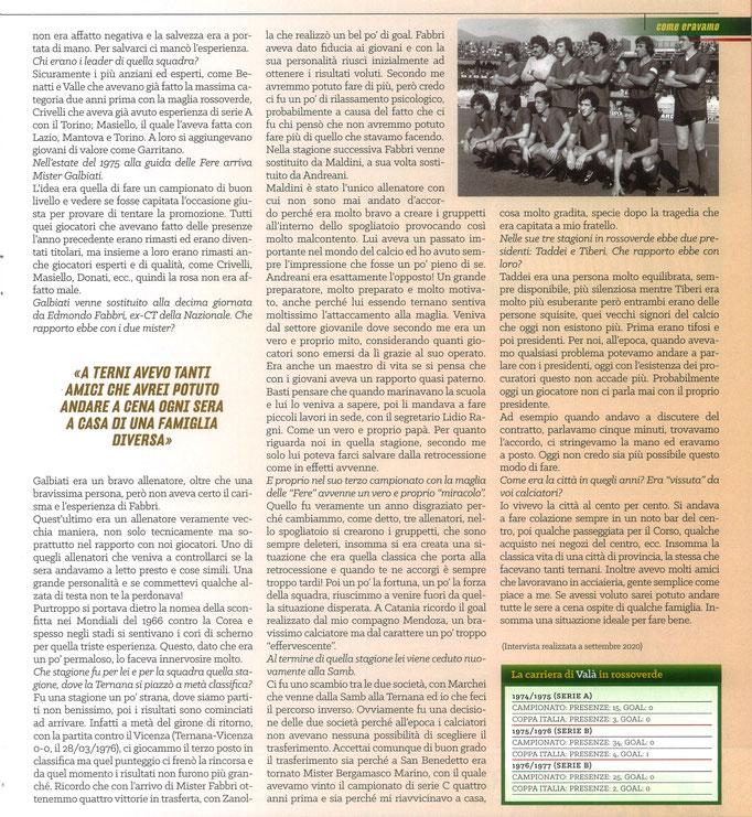 2021 Maggio. DAJE MO'! Il mio articolo dedicato a Giuseppe Valà (Parte 2). La versione integrale dell'intervista si può leggere al seguente link:
