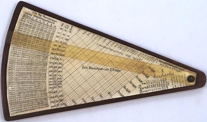 Anverso regla grande MICHAELIS I, para hormigón armado, modelo 1, 23x14 cm