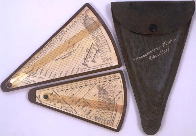 Reglas Eisenbeton-Dimensionierer MICHAELIS para hormigón armado, diseñada por el químico alemán William Michaelis, Düsseldorf, hacia 1902