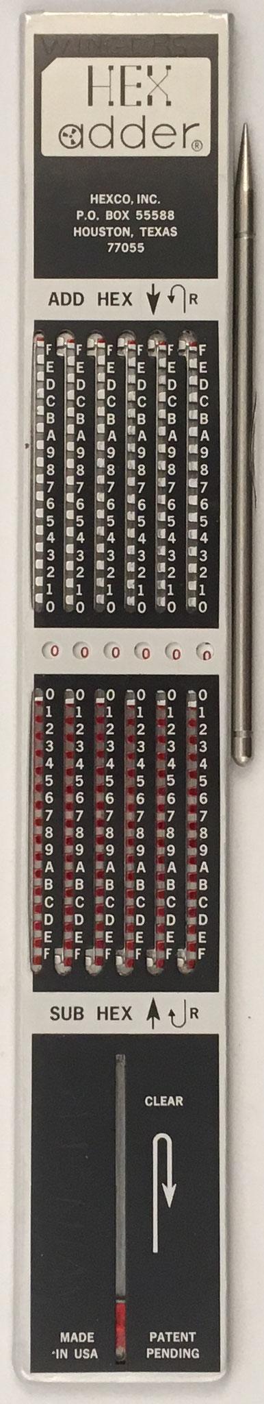 Addiator HEX adder, base 16 (o hexadecimal) para programadores del IBM-360 y otros ordenadores de 3ª generación, año 1968, 3.5x24 cm