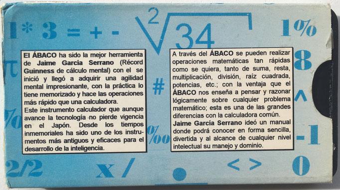 Reverso de la funda de cartón del ábaco de GARCÍA SERRANO