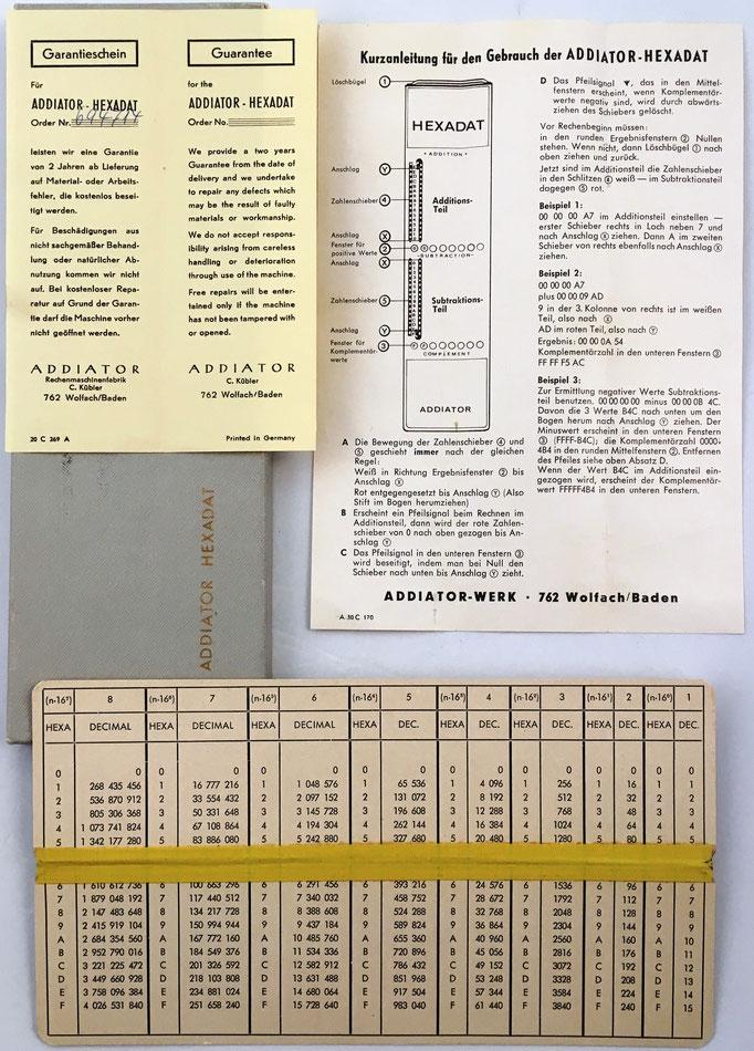 Caja e instrucciones de HEXADAT para uso de programadores de ordenadores de 3ª generación como IBM 360, SIEMENS 4004, UNIVAC 9000, TELEFUNKEN (TR 4, 10, 440), RCA ESPECTRA 70, NCR-Century, BULL GAMMA 140 y otros que usan sistemas numéricos en base 16