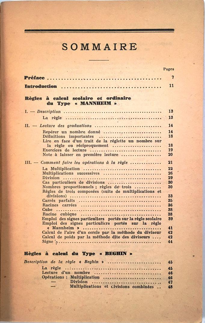 Indice del libro editado por las Règles à Calcul MARC