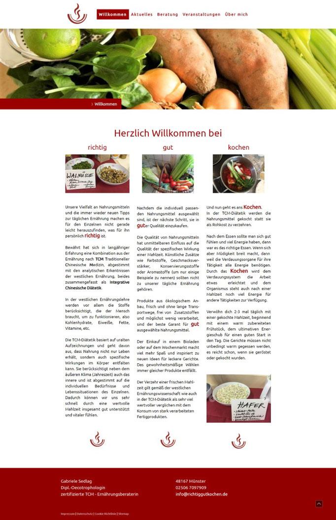 """Beispiel Jimdo Creator Website für Ernährungsberaterin (Vorlage """"Rome"""")"""