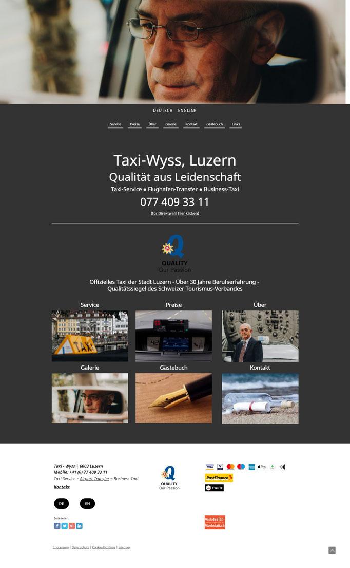"""Beispiel Jimdo Creator Website für Taxi-Service (Vorlage """"Zürich"""")"""