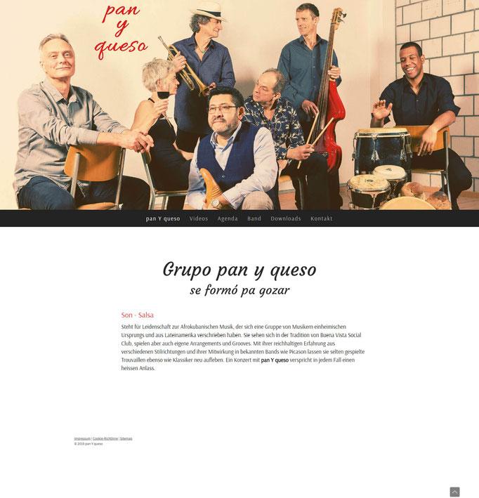 """Beispiel Jimdo Creator Website für Salsa-Band (Vorlage """"Stockholm"""")"""