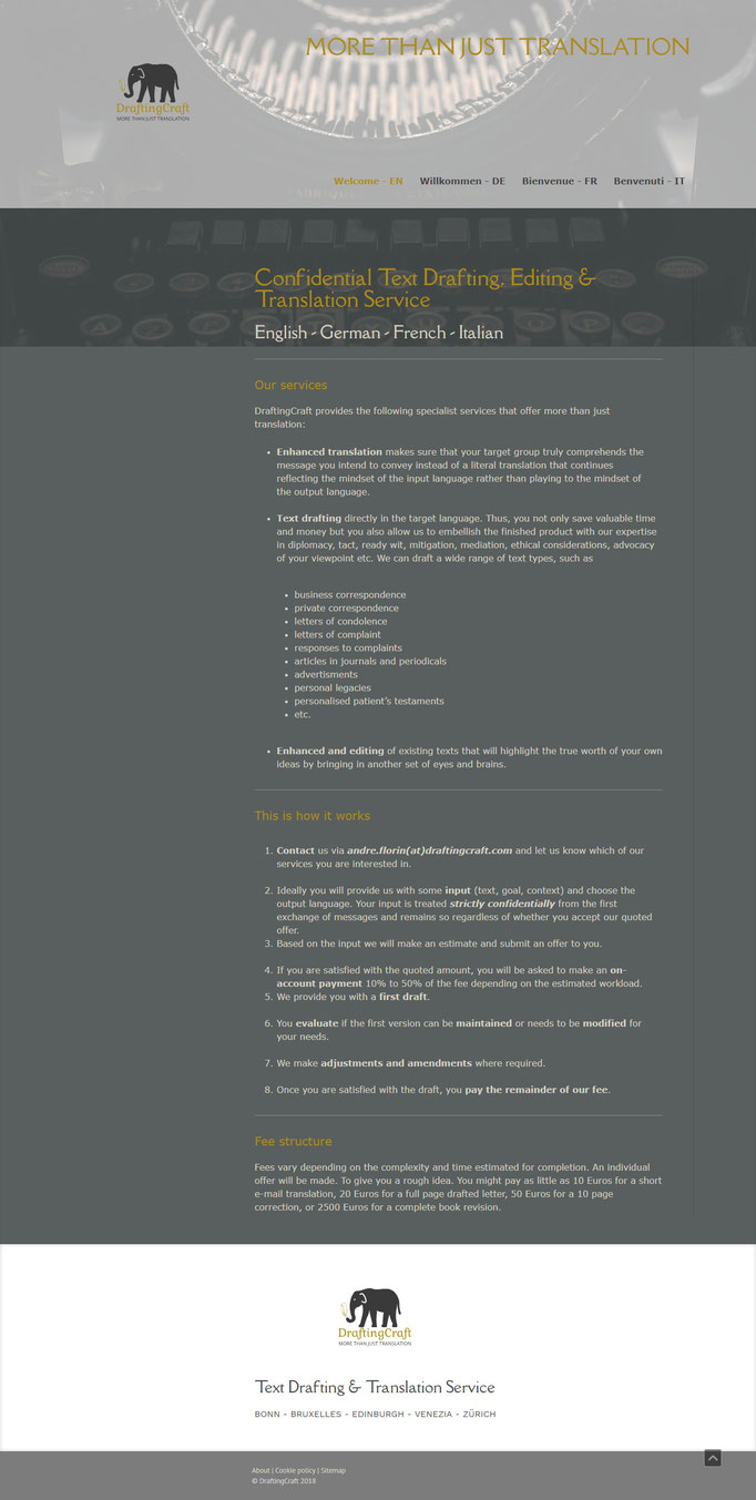 """Beispiel Jimdo Creator Website (Vorlage""""Hamburg"""")"""