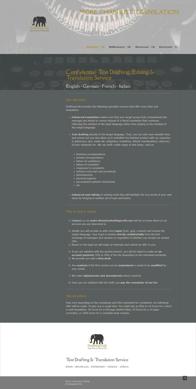 """Beispiel Jimdo Creator Website für Übersetzer (Vorlage""""Hamburg"""")"""