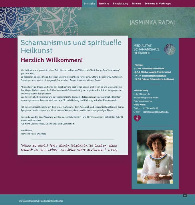"""Beispiel Jimdo Creator Website für Schamanin (Vorlage """"Amsterdam"""")"""