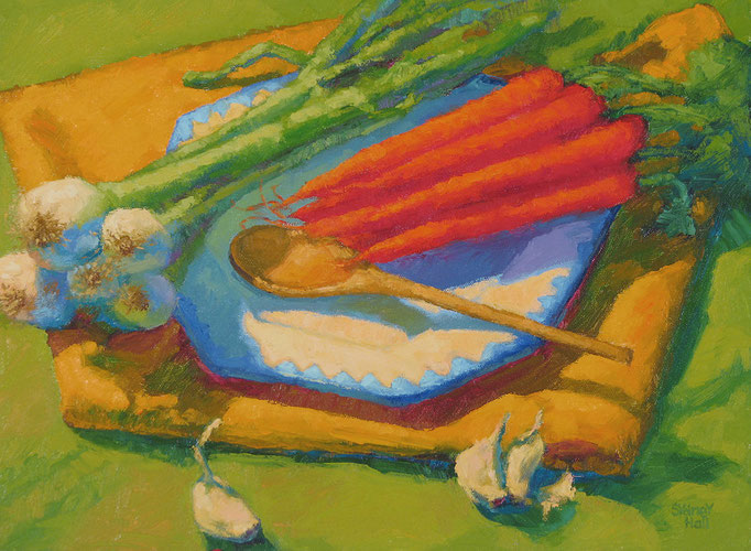 Carrot, Onion, Garlic, 12x16, SOLD