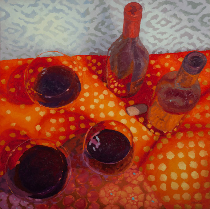 Spot Something Yummy, 36 x 36, SOLD- I live in the wine department at a store now.