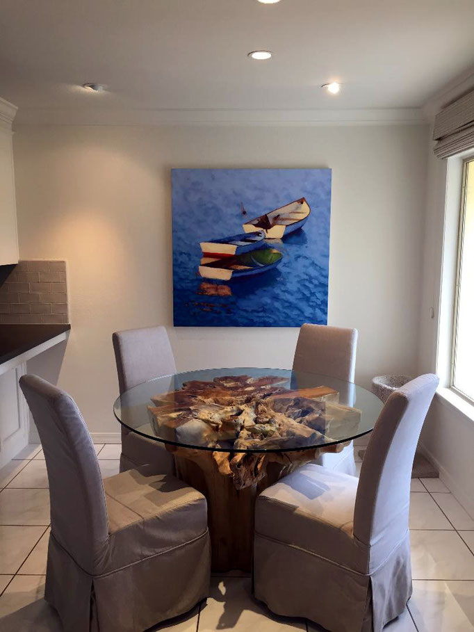 Blue Paradise, 44 x 44, original oil. commission- SOLD!!!  *Designers- How may I assist with what your clients need?*  A wonderful couple has been renovating a beach home in my area and their designer referred them to me. Here's what we created together.