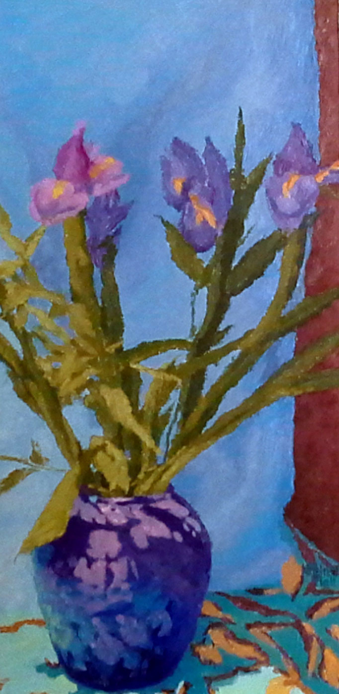 Iris and Blues, 24 x 12, SOLD