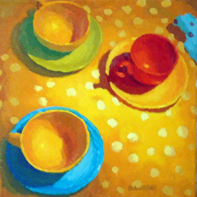 Tea With Dot, 12 x 12, SOLD