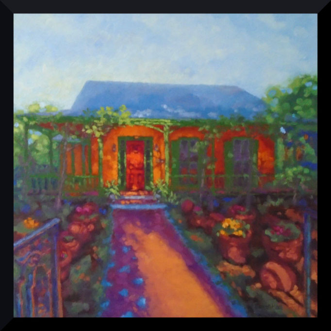No PLace Like Home, 24 x 24, Commission, SOLD- contact me for your house portrait today... be inspired...
