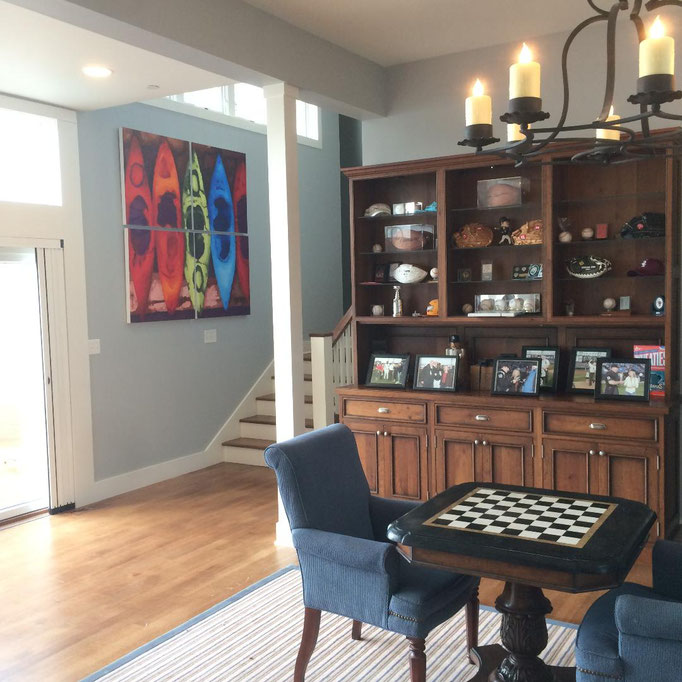 Wave From it All- giclee. Alternate view at client's home in Chicago area.   Designers and novices- How many I assist? Let's get innovative with those walls!!  dream your space into reality.