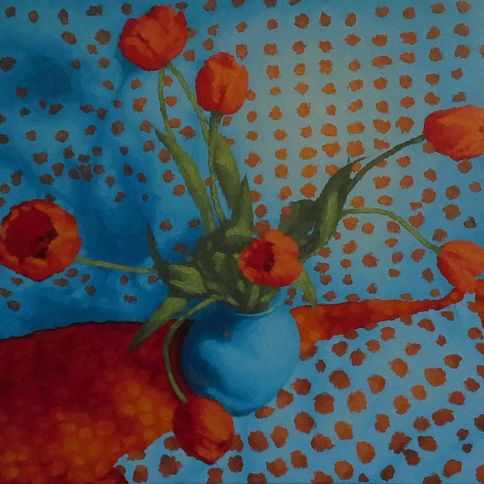 Tulips and Something Spotty, 24 x 24, SOLD